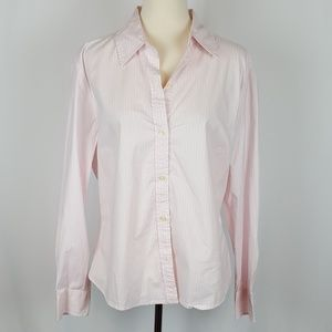 Gap Pink & White Striped Stretch Top